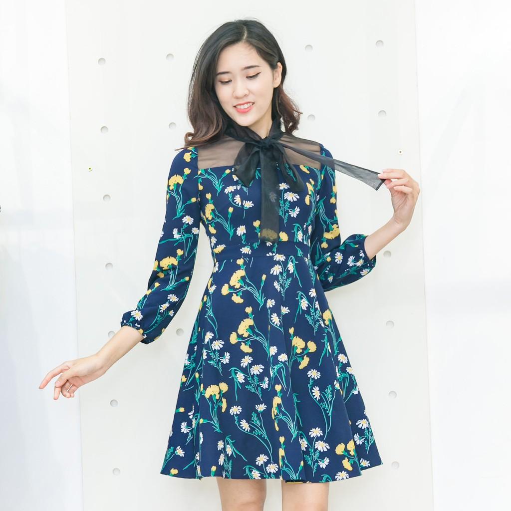 Đầm hoa phối oganza