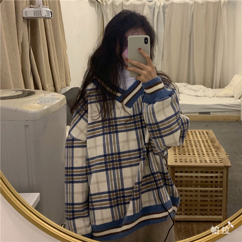 Pala Áo Sweater Dệt Kim Dáng Rộng Cổ Chữ V Họa Tiết Sọc Caro Màu Sắc Phong Cách Retro Hong