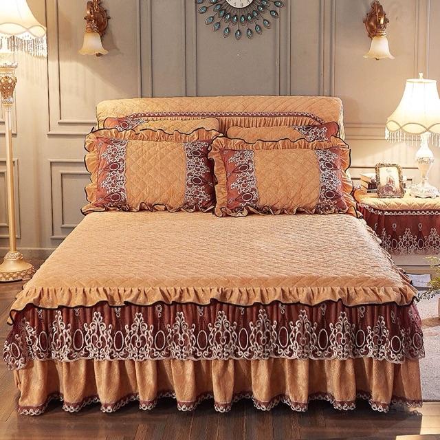 Ga phủ giường trần bông kèm 2 vỏ gối
