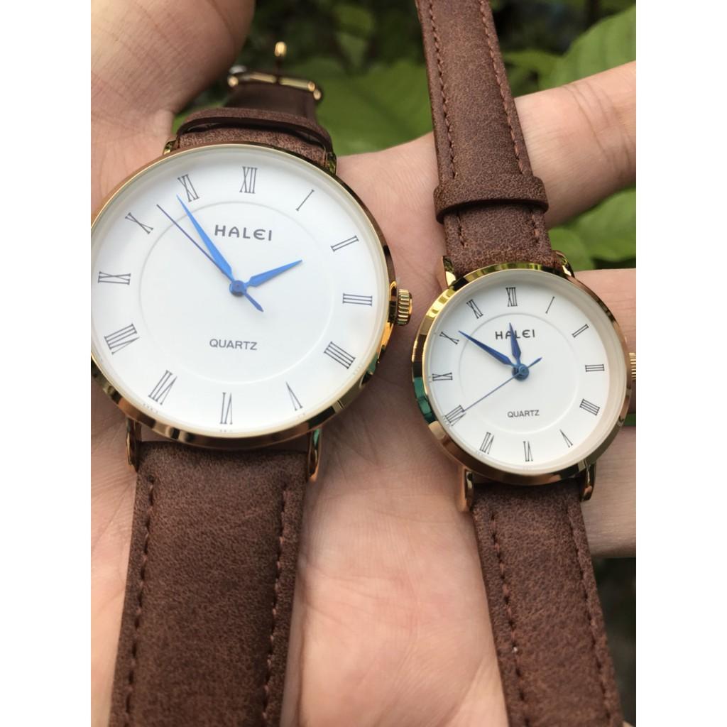 [Giá 1 Cặp] Cặp Đồng hồ đôi Halei máy Nhật dây da cao cấp chống nước, chống xước.