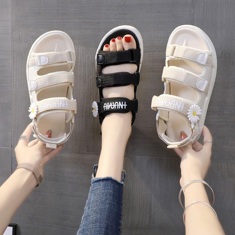 (2 MÀU) Sandal nữ thời trang Ulzzang quai vải chữ ký hoa cúc hót nữ tính