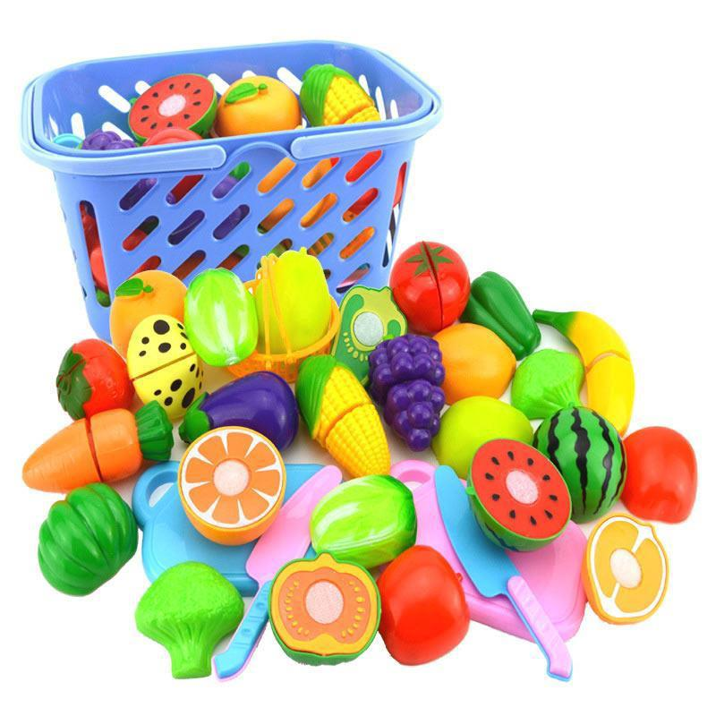 23PCS/SET Cutting Vegetables Fruits Simulation Food Set Baby Kitchen Toys