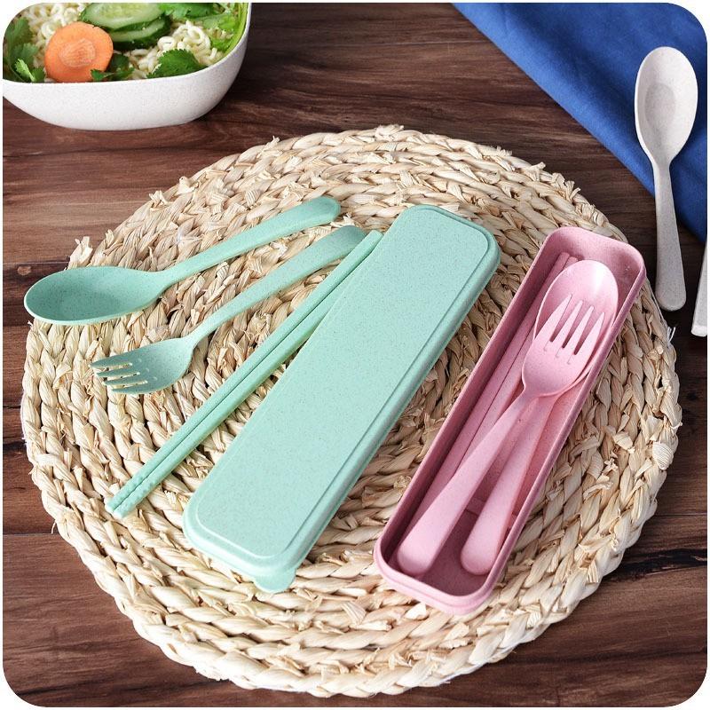 Bộ thìa , dĩa, đũa 3 chi tiết bằng lúa mạch, dụng cụ ăn uống, set đồ ăn