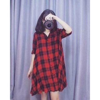 Đầm Sơ Mi Đỏ Đen Cực Chất
