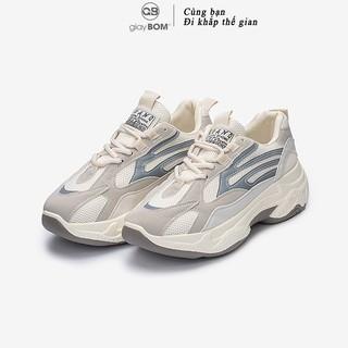 Giày Thể Thao Nữ giayBOM Phản Quang Thoáng Khí Đế Cao 5 cm B940 thumbnail