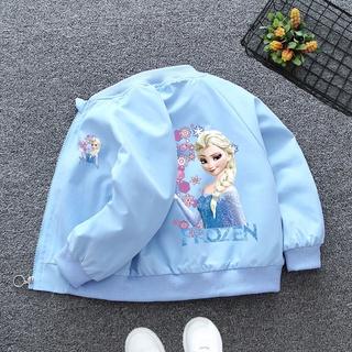 Áo khoác bóng chày khóa kéo in hình công chúa Elsa hoạt hình Frozen cho bé gái
