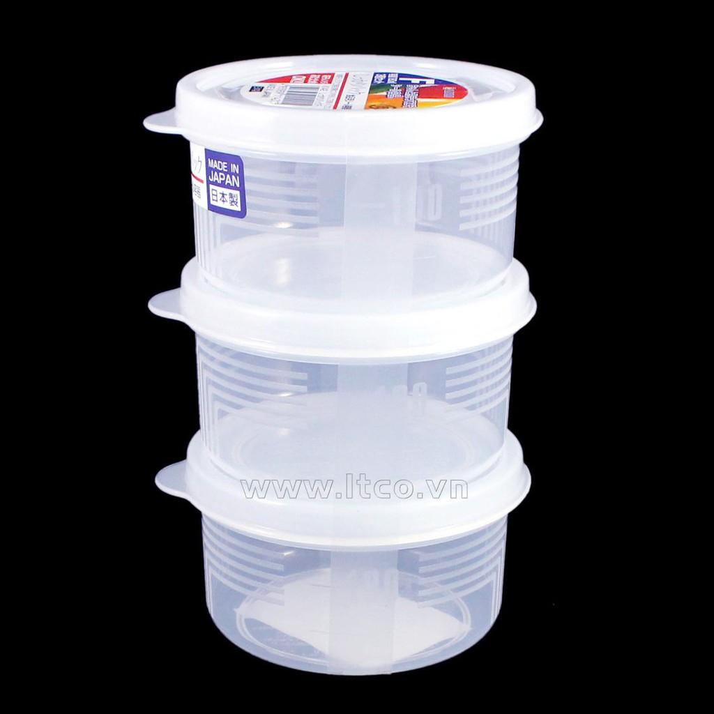 Set 3 hộp nhựa tròn Nakaya 180ml