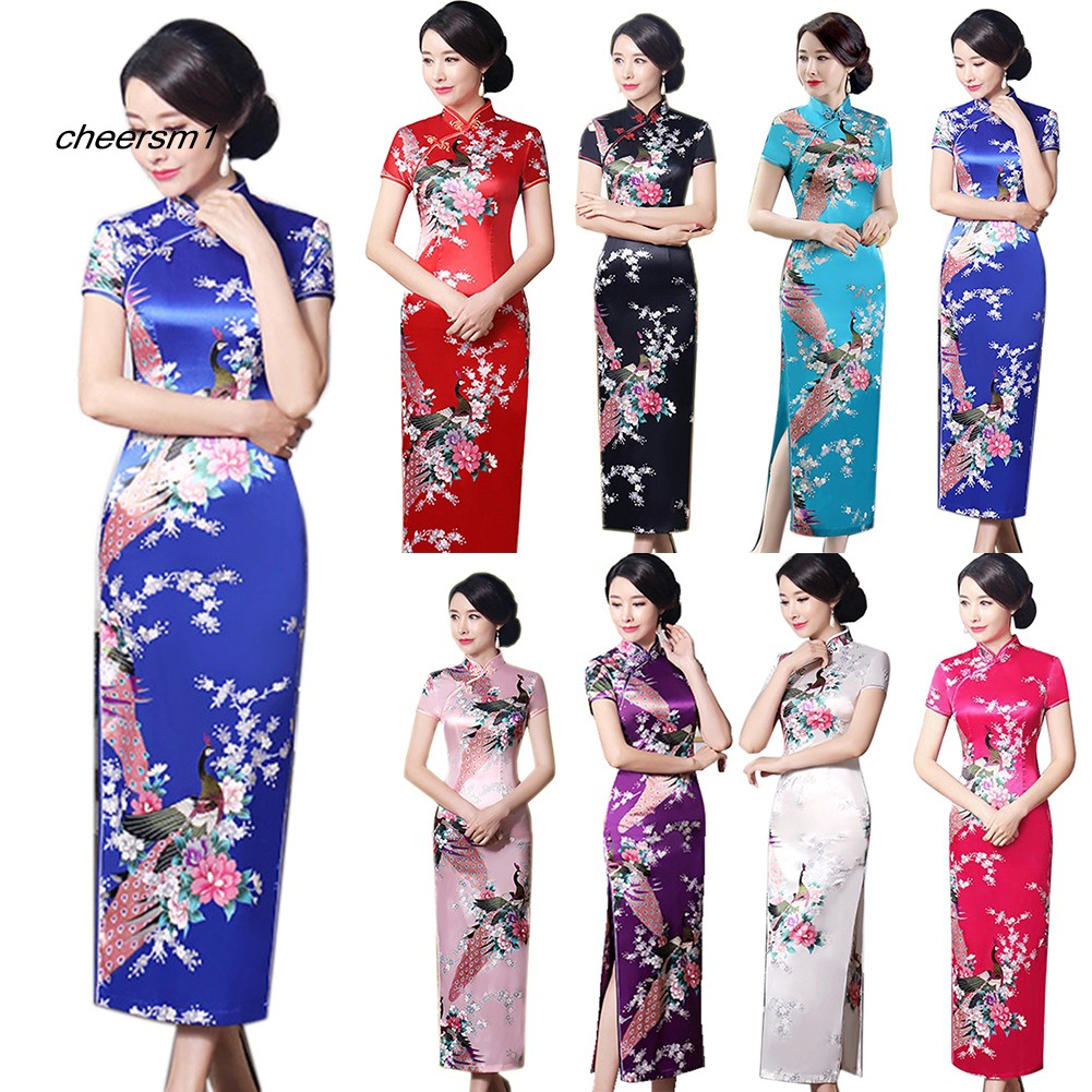 CHE♥Peacock Print Women Chinese Long Cheongsam Bridesmaid Short Sleeve Evening Dress