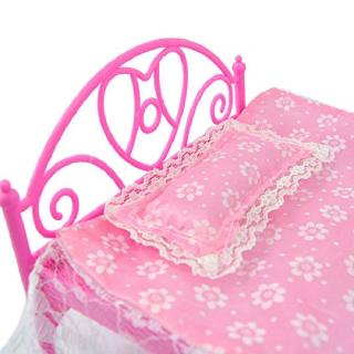 E-TING Pink Mini Bed With Pillow dolls Dollhouse Bedroom Furniture 1