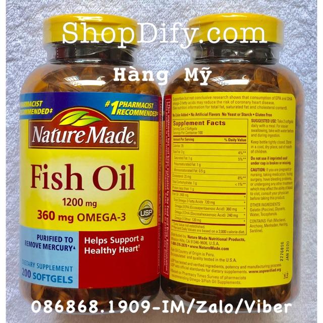 {Date 01/2020} Dầu cá Nature Made Fish oil 1200mg Omega-3 360mg hộp 200 viên