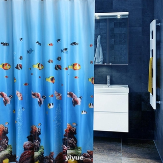 Bath Decorative PEVA Waterproof Fish Pattern Shower Curtain