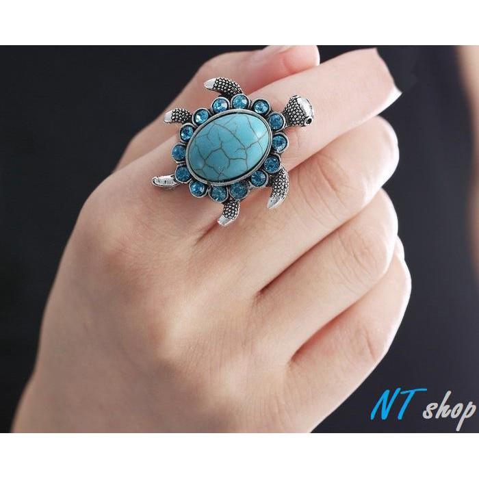Nhẫn Rùa Ngọc Lam Turquoise Ai Cập Biểu Tượng May Mắn Sức Khỏe RBRUA01