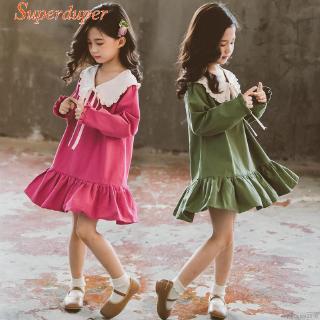 Đầm dài tay thắt nơ xinh xắn cho bé gái