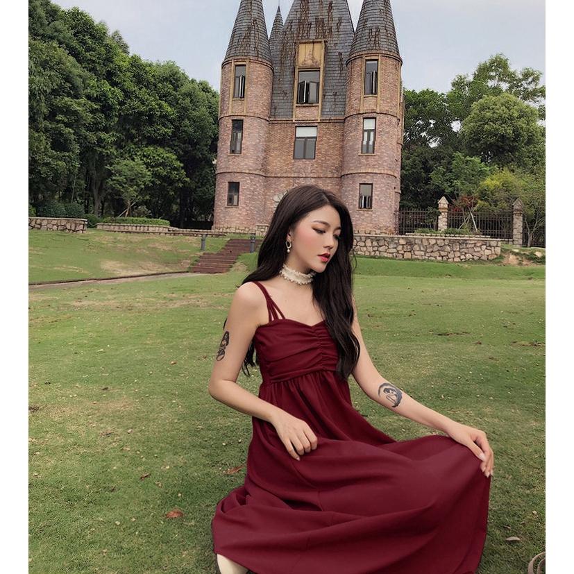 Đầm Xòe Trễ Vai Phong Cách Hàn Quốc Dành Cho Nữ