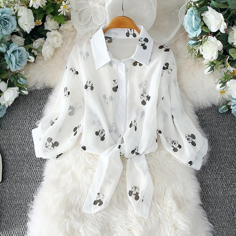 Áo Khoác Cardigan Vải Voan Mỏng Dáng Rộng In Hoạt Hình Mickey Kiểu Hàn Quốc Thời Trang Mùa Hè Cho Nữ 2021