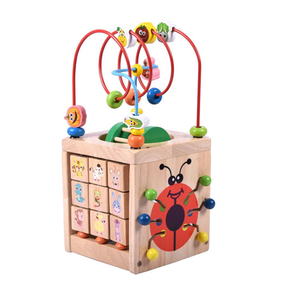 Wooden Activity Cube Bead Maze Abacus Counting Kids Educational Toy