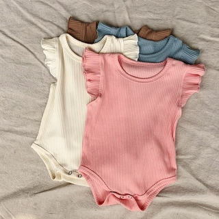 summer baby girls round neck solid color romper + pants clothing set