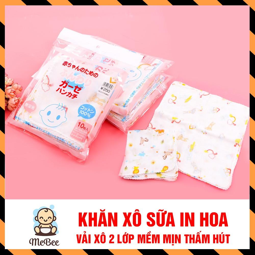 Khăn xô sữa in hoa họa tiết cho bé (Gói 10 khăn) - Hàng xuất Nhập
