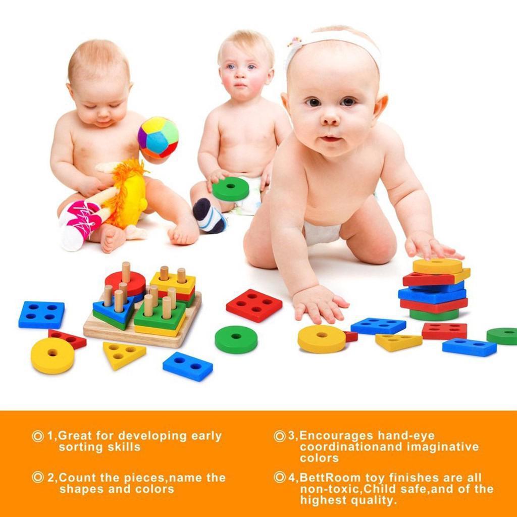 Kids Baby Wooden Geometric Building Blocks Sorting Montessori Puzzle Toys