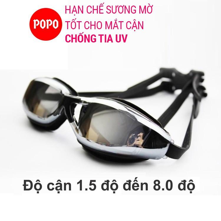 Kính bơi cận từ 1.5 độ đến 8.0 độ tráng gương chống UV chống hấp hơi POPO Collection