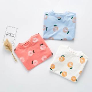 Bộ áo liền quần cotton tay ngắn hình quả cam xinh xắn phong cách hè 2020 cho bé
