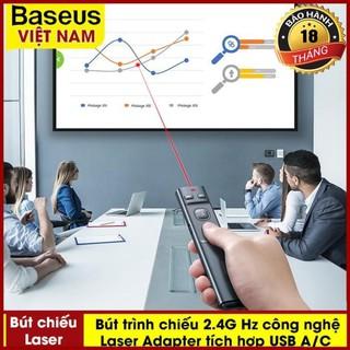 Bút Trình Chiếu Laser Điều Khiển Từ Xa Cho Máy Chiếu Baseus Orange Dot Wireless Presenter 2.4ghz Với USB Bluetooth