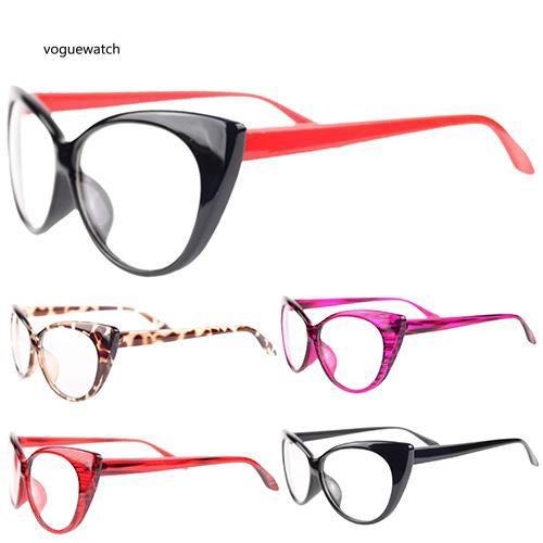 VGWT_Women Classic Sexy Vintage Cat-Eye Shape Plastic Plain Eye Glasses Frame Eyewear