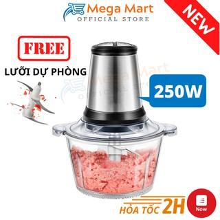 Máy Xay Thịt Cối Nhựa 2L Công Suất 250W - Máy Xay Thực Phẩm Đa Năng 4 Lưỡi, Xay Sinh Tố, Rau Củ