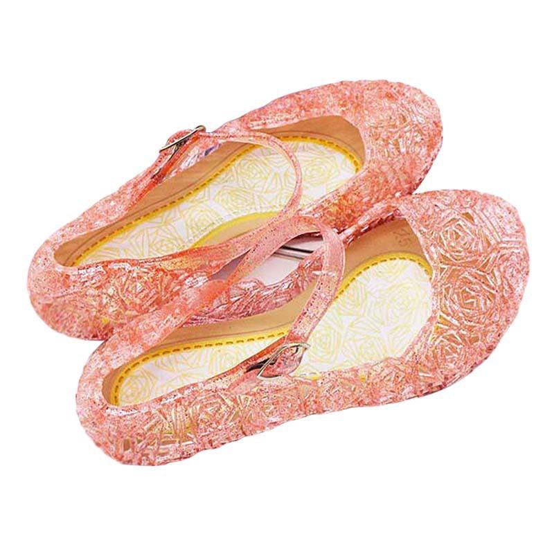 Giày nhựa trong suốt đính pha lê cho bé gái