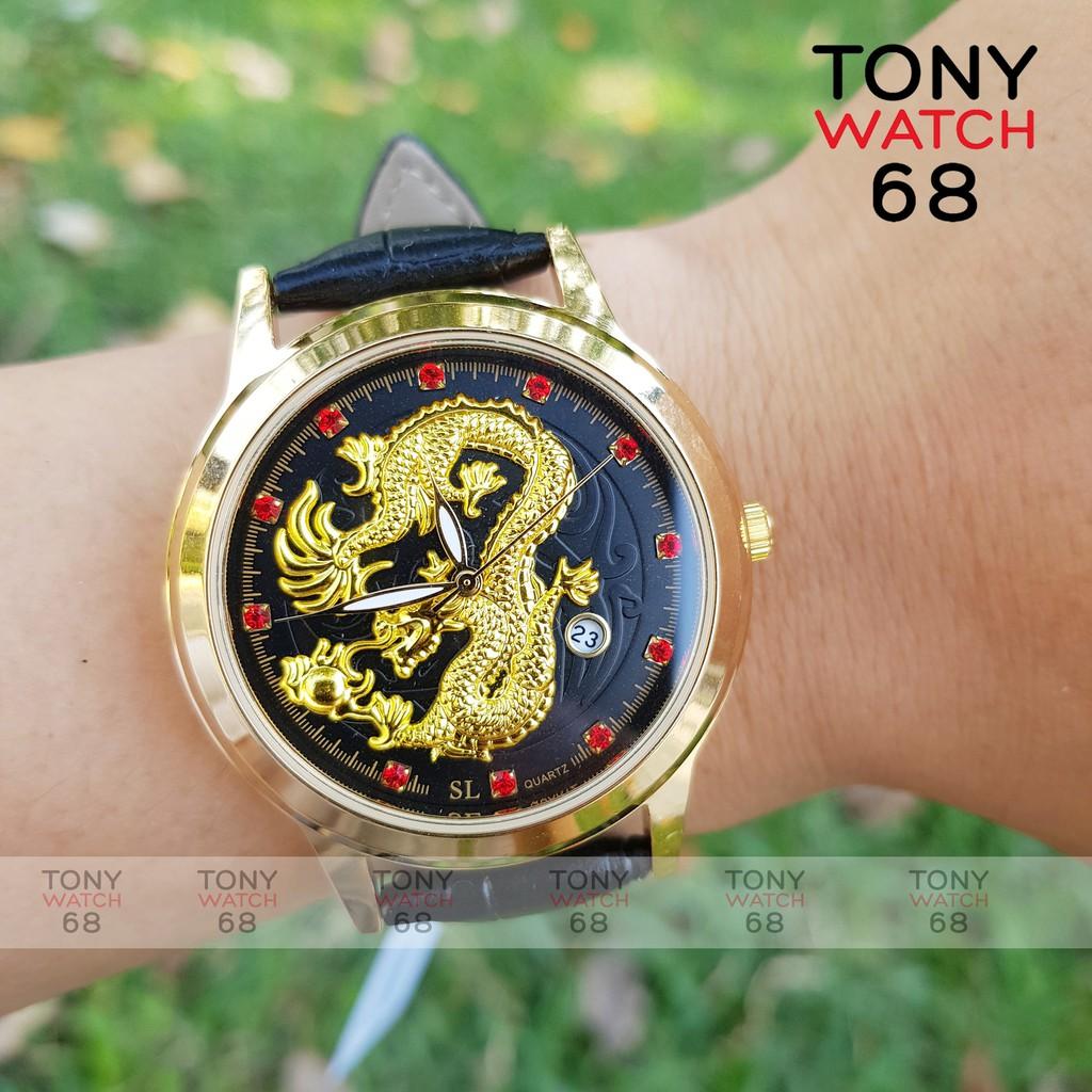 Đồng hồ đeo tay nam SL dây da viền vàng hình rồng 3D có lịch quyền lực size 38mm cho nam tay bé