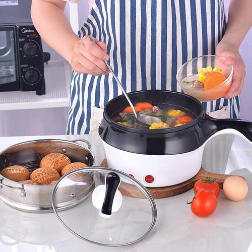 ?HÀNG XỊN? Nồi Điện Mini Hai Tầng Đa Năng Tặng Kèm Khay Hấp có thể Chiên, Xào, Nấu ăn, nấu cơm, nấu lẩu mini