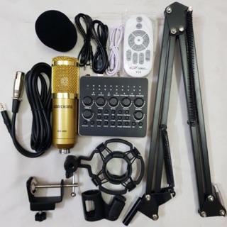 Combo bộ hát livestream thu âm mic BM900 + sound card V10 plus + kẹp bàn