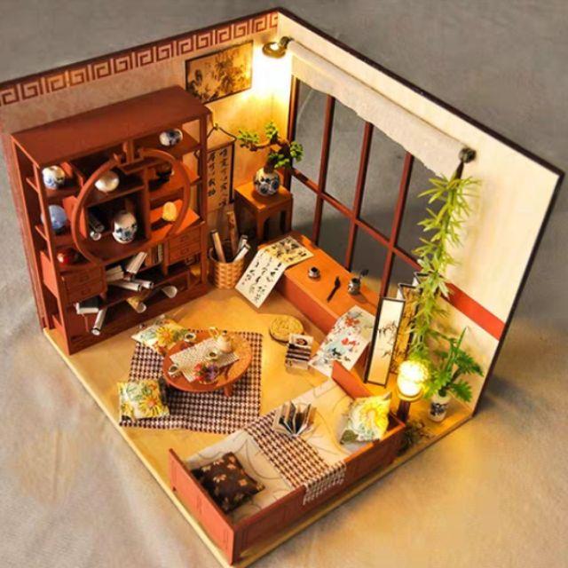 Mô hình nhà gỗ búp bê lắp ráp DIY - Kèm mica - TW28 Phòng Thư Pháp