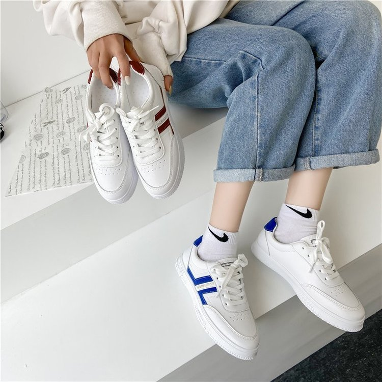 Fashion Round Lace Up Solid Low Heel Flat Sneakers for Women