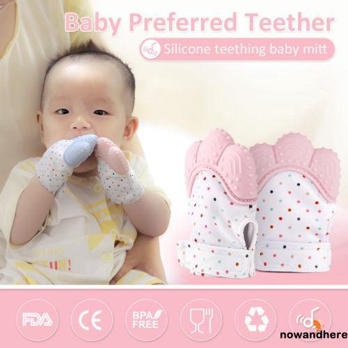 E.E-Baby Silicone Gloves Baby Protects Mitt Sound Teether Glove Hand Wrapper