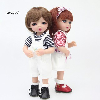 〖OMG〗25cm Vinyl Silicone Reborn Baby Boy Girl Doll with Overalls Suit Accompany Toy