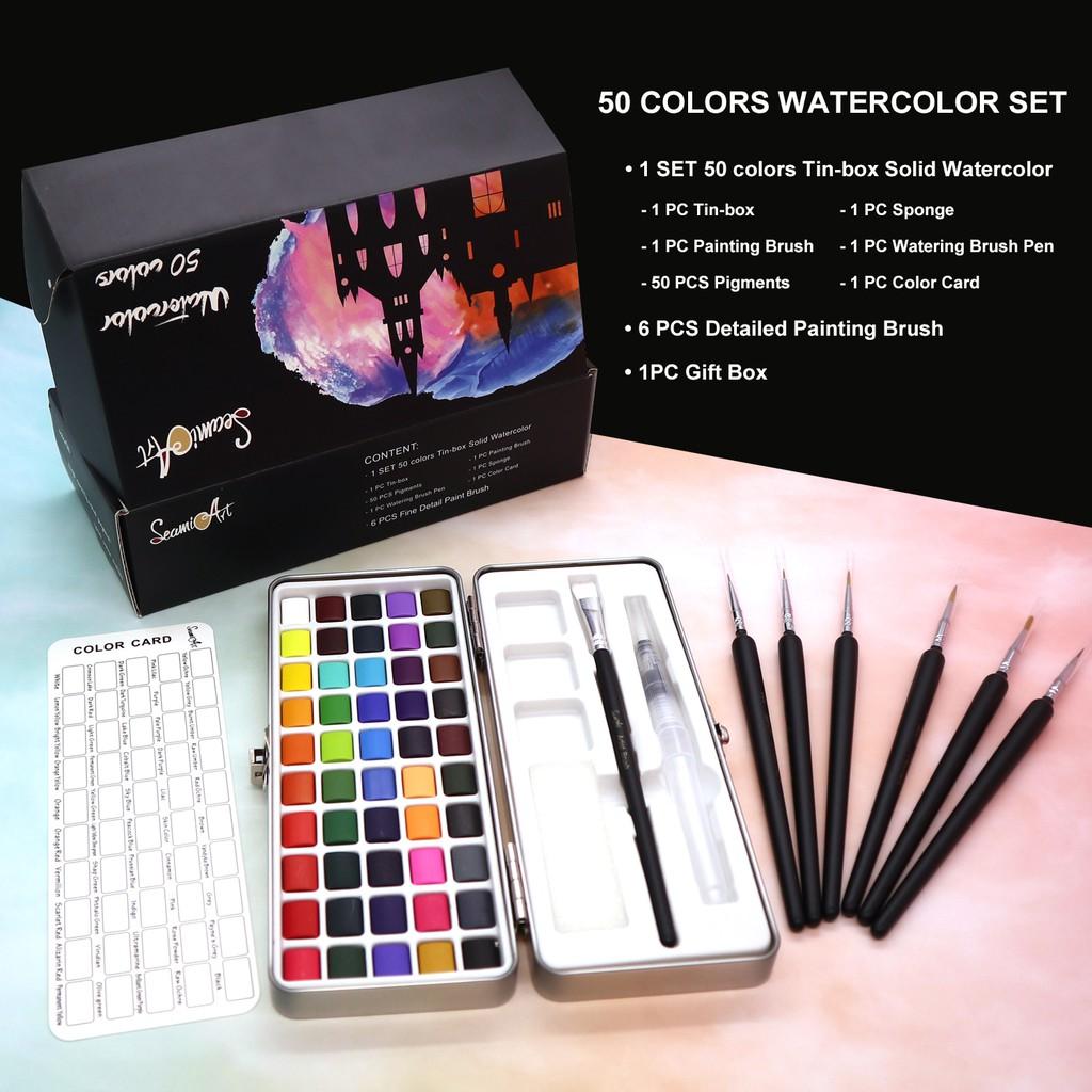 Bộ 50 bút màu nước kèm 6 cọ vẽ tranh thiết kế tiện lợi