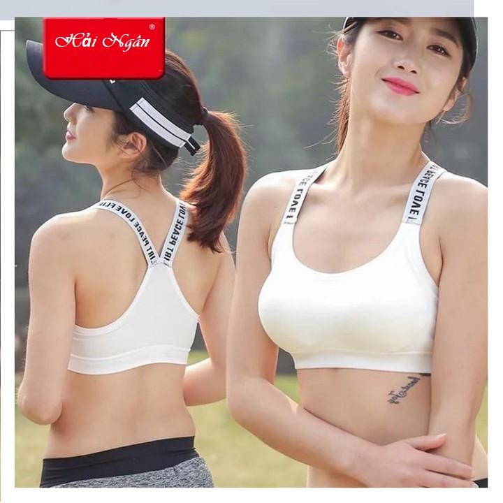 ÁO NGỰC TẬP GYM THỂ THAO QC17 FREESIZE NGỰC DƯỚI 86CM 2 MÀU ĐEN VÀ TRẮNG, áo bra tập gym, a