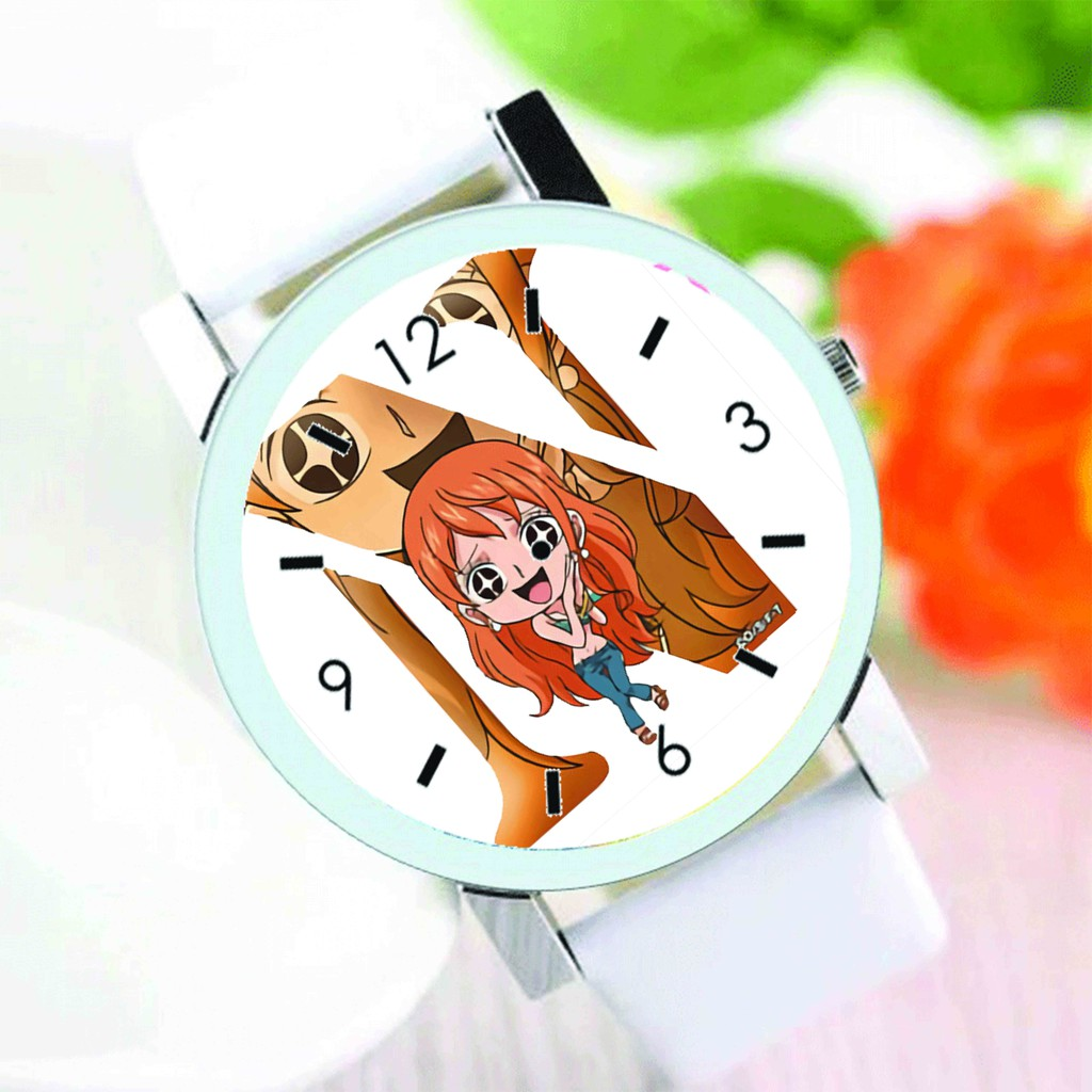Đồng hồ đeo tay in hình ONE PIECE ĐẢO HẢI TẶC ver CHỮ CÁI anime chibi thời trang nam nữ dễ thương độc đáo