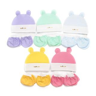 Combo 5 Nón kèm bao tay chân màu cho trẻ sơ sinh