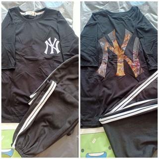 [Set giá rẻ] Set Áo phông NY phối quần Jogger 2 sọc Unisex Freesize dưới 70kg