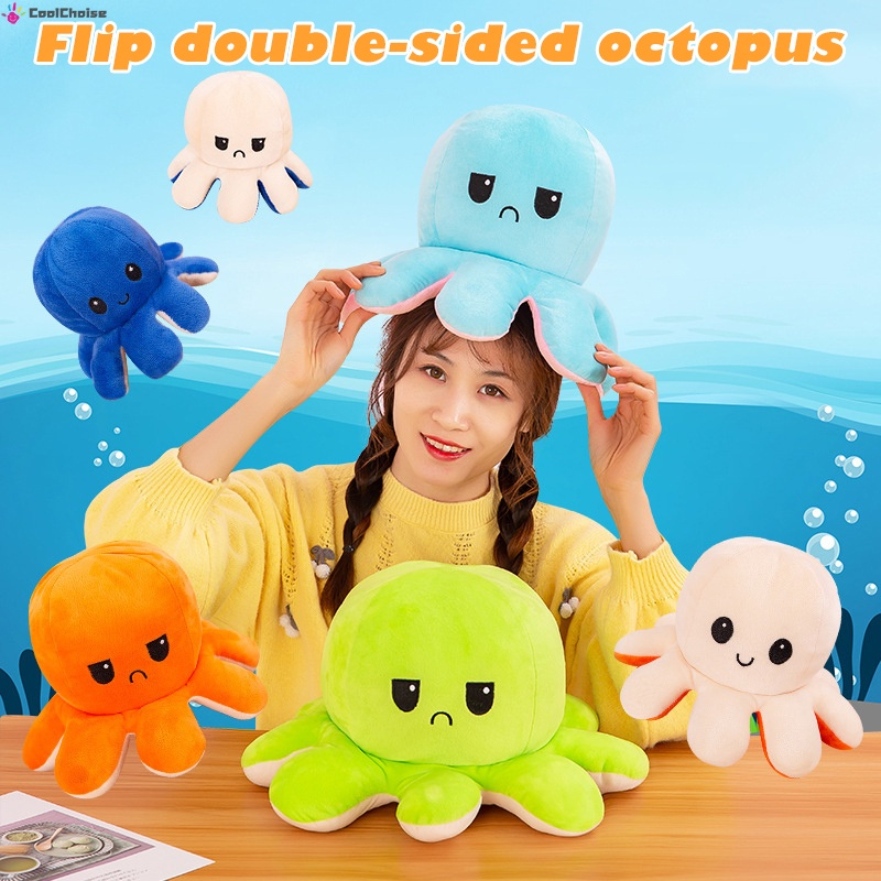 Reversible Octopus Plushie Double-Sided Doll Octopus Soft Cute Plush Animal Toy For Kids Adults