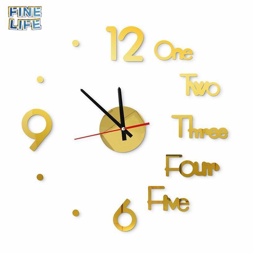 (12.12) Đồng Hồ Dán Tường 3d Số Lớn