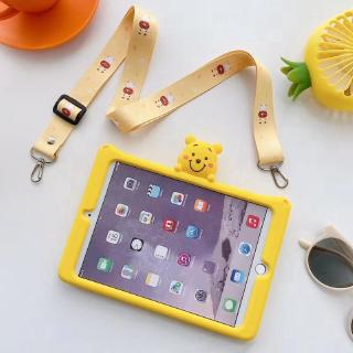 Spot with bracket AIR1 / 2 new ipad2 / 3/4 super cute yellow Pooh bear with lanyard 10.5 inch mini1 / 2/3/4 tablet protective sleeve