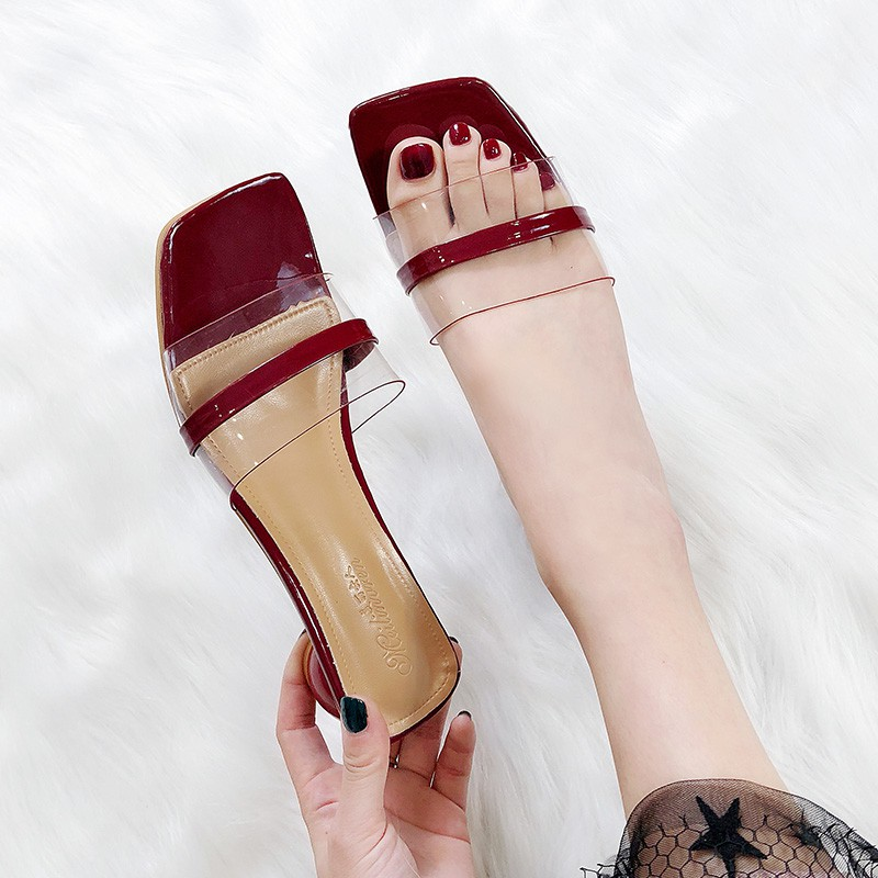 Slippers Female Summer 2019 New Square Head Transparent Roug