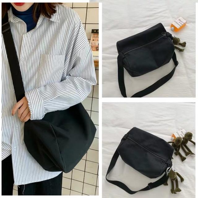 Túi xách tote vải canvas đeo chéo trơn đi học FROG TV42