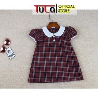 Váy Đầm Bé Gái Phối Cổ Trắng Kẻ Caro Đỏ Đô