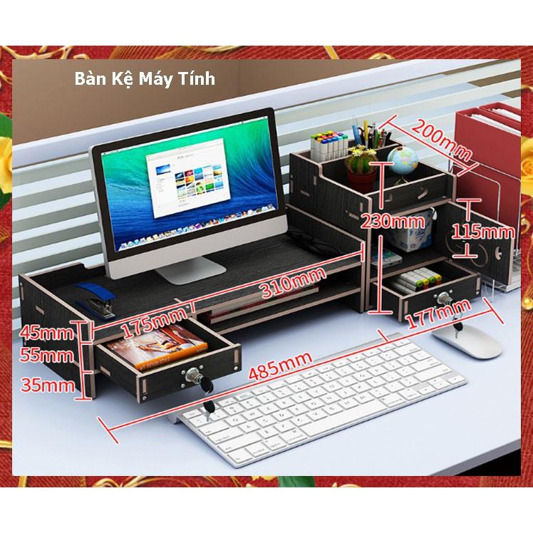 Kệ tài liệu để máy tính văn phòng để bàn làm việc bằng gỗ Giá sách gỗ lắp ghép để bàn học tập có ngăn kéo chìa khoá