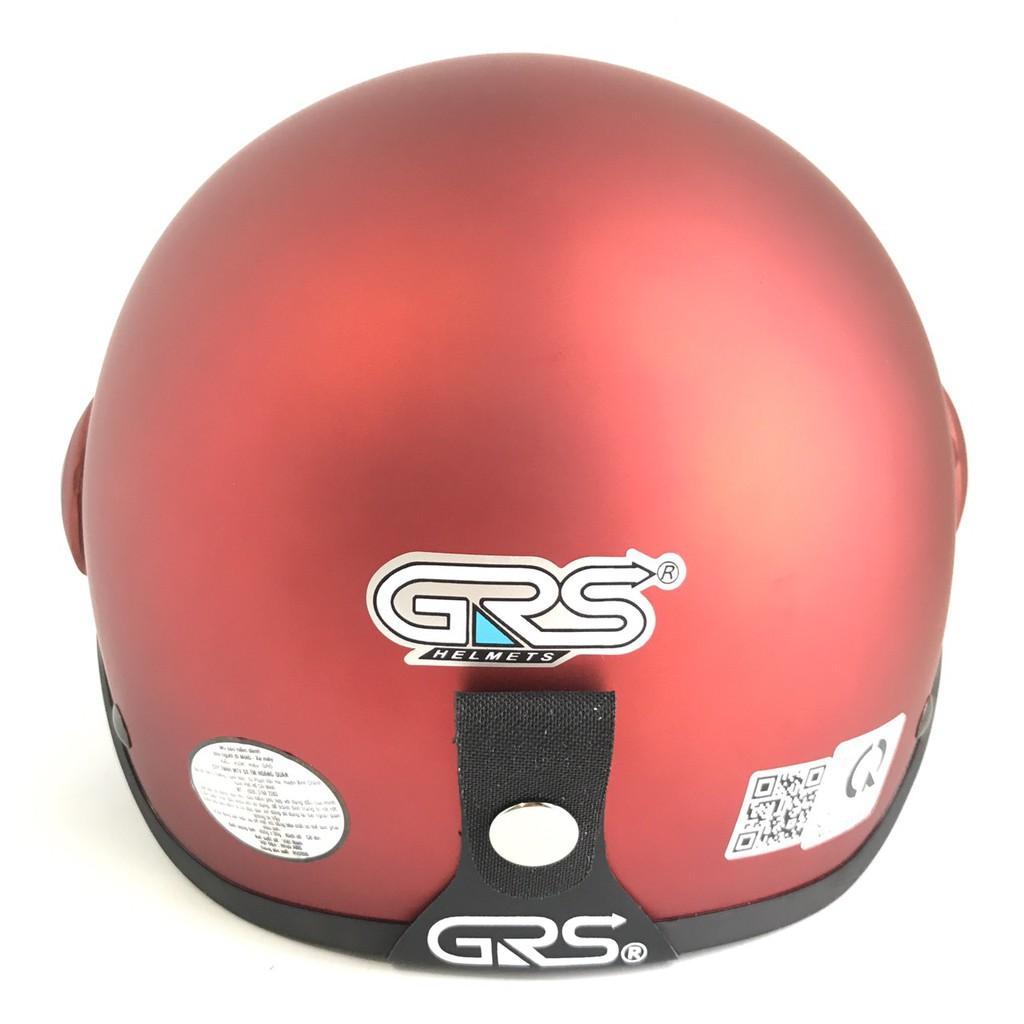 Mũ bảo hiểm nửa đầu có kính - Dành cho người lớn vòng đầu 56-58cm - GRS A33K - Đô nhám - Nón bảo hiểm Nam - Bảo hiểm Nữ