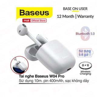 Tai nghe True Wireless Earphones Baseus W04 Pro dung lượng pin 400mAh, bluetooth 5.0, hỗ trợ sạc không dây
